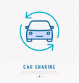 car in arrows thin line icon vector image