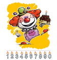 Clown Carrying a Birthday Cake vector image vector image