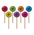 collection colorful lollipop candies vector image vector image