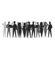 crowd silhouette people group shadow young friend vector image vector image