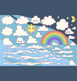 cute cloudy sky set vector image