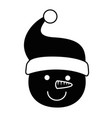 cute snowman head character icon vector image vector image