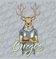 deer with burger and french fries vector image vector image