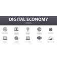 digital economy simple concept icons set contains vector image