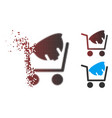 dispersed pixel halftone helmet shopping icon vector image vector image