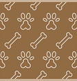 dog seamless pattern theme bone paw foot print vector image