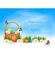 Easter background with Easter eggs in basket and vector image vector image