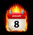 eighth january in calendar burning icon on black vector image vector image