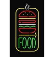 Fast food neon sign light restaurant cafe black vector image