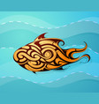 fish decorative tattoo shape vector image vector image