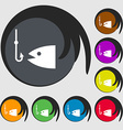 Fishing icon sign Symbol on eight colored buttons vector image