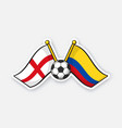 flags england versus colombia with soccer ball vector image vector image