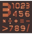 Font from brownish scotch tape - Arabic numerals vector image vector image