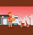 food delivery courier with pizza box and coffee vector image vector image