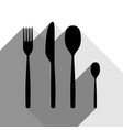 fork spoon and knife sign black icon with vector image vector image