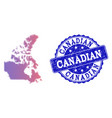 halftone gradient map of canada and grunge seal vector image vector image