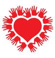 Hands around a heart vector image