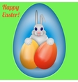 Happy Easter Rabbit with multi-colored Easter vector image vector image