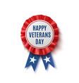 happy veterans day badge isolated on white vector image vector image