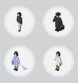 isometric person set of housemaid girl detective vector image vector image