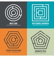 Labyrinth maze shape logo design set vector image vector image