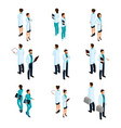 medical workers in the isometric front and back vector image vector image