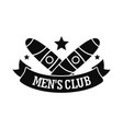 men cigar club logo simple style vector image