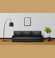 modern living room interior with black sofa and la vector image