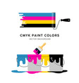 paint roller and paint can colorful design vector image vector image