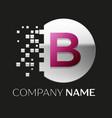 pink letter b logo symbol in silver pixel circle vector image
