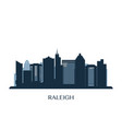 raleigh skyline monochrome silhouette vector image vector image