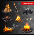 realistic campfire transparent set vector image vector image