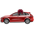 red automobile with ribbon bow car as a gift vector image