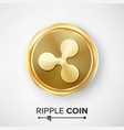 ripple coin gold coin realistic crypto vector image vector image