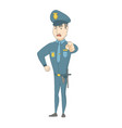 serious caucasian police officer pointing at you vector image