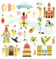 set icons famous symbols cuba big bundle vector image