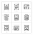 Set line icons of calculator vector image