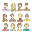 set of colored male and female icons vector image