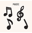 Set of Hand-drawn music notes on white background vector image vector image
