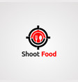 shoot target food with spoon and fork logo vector image vector image