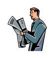 Side view of man reading newspaper vector image