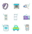 smart home detectors icons set cartoon style vector image vector image