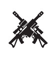 sniper rifle icon two crossed guns on white vector image