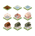 stages building house isometric excavation vector image vector image