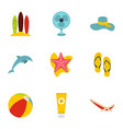 summer relax and beach icons set flat style vector image vector image