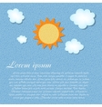 Sun and cloud retro grunge background vector image