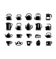 teapots and electric kettles silhouette set vector image vector image