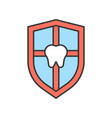 tooth on shield dental related icon filled outline vector image