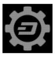 white halftone dash options gear icon vector image vector image