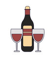 wine bottle with cups vector image